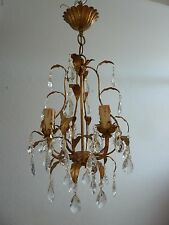 Beautiful Italian Toleware 4 Arm Glass Crystal Chandelier Ceiling Light
