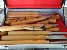 "Wood Turning Chisels Set of 21 - Tool Chest/Box 14"" to 5-1/2"" Length Vtg"