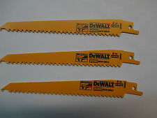 "3-DEWALT DW4802 RECIPROCATING BI-METAL SAW BLADE 6""L 6 TPI WOOD WITH NAILS"