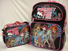 """Monster High 16"""" Large Backpack & Lunch Box - Brand New - Licensed Product - Kid"""