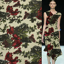 Vintage red floral and green leaves pattern silk velvet burnt-out fabric,SVL004