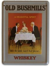 BUSHMILLS WHISKEY IRISH SPIRIT Small Metal Tin Pub Sign