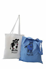 NEW 2 pks of Tote Bags: HORSE & COW.
