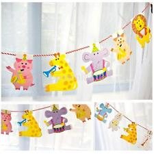 2M Animal Theme Paper Garland Striped Flags Banner Kid Birthday Party Supplies K