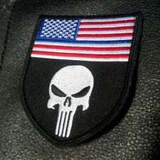 PUNISHER USA FLAG  POLICE BLUE LINE R/ W 3.5 INCH TACTICAL COMBAT VELCRO PATCH