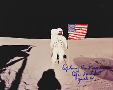 Free Shipping-Edgar Mitchell Signed 8 x 10 NASA Kodak on Moon with Flag (10a)