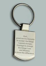 Engraved SERENITY prayer keyring BOXED Personalised  AA anonymous alcoholics