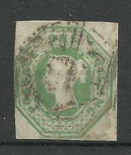 1847/54 Sg 54, 1/- Pale Green Embossed Issue, 3 margin, cut square, Fine used.