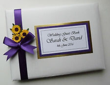 PERSONALISED WEDDING GUEST BOOK WITH SUNFLOWERS (CADBURY) - ANY COLOUR