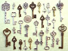 32 New Steampunk Keys Beads Lock Old Vintage Antique Look Jewelry Crafts A5A