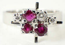 VINTAGE RETRO 18 CARAT WHITE GOLD, RUBY & DIAMOND RING - CLUSTER RING - 1970s