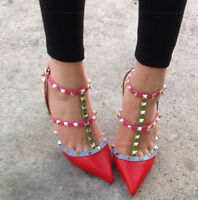 Women Ankle Strap Pointed Toe High Heel Metal Studded Hollow Out Stilettos Shoes