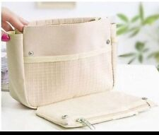 Fashion Beige Handbag Makeup Cosmetic Purse Travel Organizer Bag in Bag Pouch