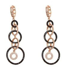STERLING SILVER  ROSE & BLACK RHODIUM  CZ  CIRCLE  HOOP DANGLE EARRING  60mm