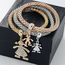 Lot 3pc Crystal Rhinestone Bracelet Little Girl Charm for Luxury Women Wristband