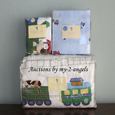 NEW Pottery Barn Kids Holiday Train Junction Dog Puppy Twin Quilt+Sham+Sheet Set