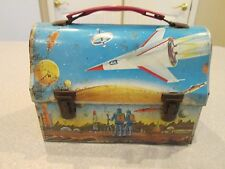 Vintage 1960's space metal lunch box space ship / astronauts