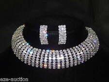 Wedding Bridal 8 Row Silver Clear Rhinestone Arch Choker Necklace & Earrings Set
