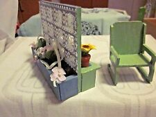 Doll house Vtg Terace Balcony Espalier Chair & 2 Flower Boxes (turnable)