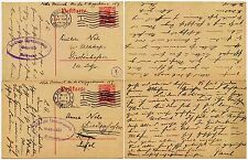 BELGIUM WW1 STATIONERY OCCUPATION OPTS...CENSORS 4 + 18 to NELS DIEDENHOFEN 1916