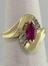 LADIES 10K YELLOW GOLD 8x4 1/2ct RED MARQUISE RUBY BAGUETTE DIAMOND RING 14mm