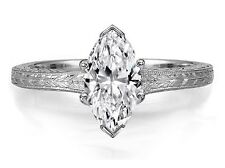 One Carat Marquise Diamond Solitaire Wheat Engraved Engagement Ring G IF