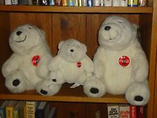 "Lot of 3 Plush Coca Cola White Polar Bears Family  11"" 10"" & 7"" Dad Mom & Baby"