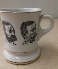 Vintage Shaving Mug Beard Mustache Barber Shop Men Gold Trim Coffee