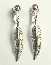 LOVELY SILVER PLATED FEATHER  CLIP ON EARRINGS (hook options)