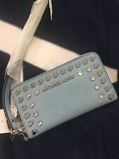 NWT Michael Kors Jet Set Travel Wallet Wristlet Coin Phone Case Jewel Stud