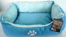Precious Tails Ultra Soft Padded Pet Bed Dog/Cat Bed White Paw Print/Light Blue