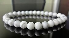 "Genuine White HOWLITE bead bracelet for MEN On Stretch AAA Quality 6mm - 8"" inch"