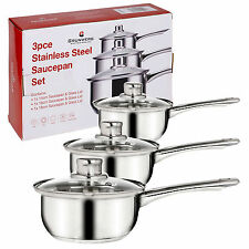 Grunwerg 3 Piece Saucepan Cookware Set Stainless Steel Pots Pans Glass Lids New