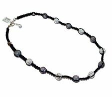 """CANDY BLING"" Grey & White Crystal, Sterling Silver & Cord Necklace (RRP £110)"