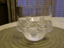 "Lalique France Crystal 5 Owl Hibou Frosted Art Glass 5.25"" Open Vase Bowl"