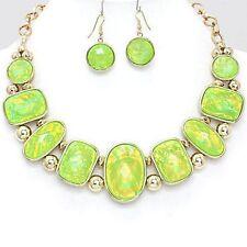 GREEN   / gold  opal bib STATEMENT  NECKLACE / EARRING SET VJ8A