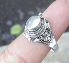 925 Solid Silver Balinese Style Poison Locket RIng Moonstone Size 8-66H