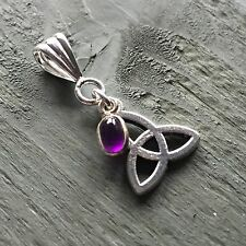 Silver Plated Amethyst Tibetan Triquetra Pendant Wicca Pagan Spiritual Celtic