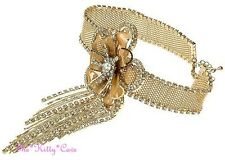 Gold Deco Gatsby Lace Mesh Flower Burlesque Choker Necklace w Swarovski Crystals