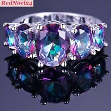 Feminine Oval Cut Rainbow Mystic Topaz  925 Stamped Silver Ring Size 9 - R