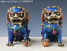 A Pair Chinese Cloisonne Copper Statue - Lion Foo Dog NO79