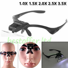 1.5X-3.5X 5 Lens Head Band Magnifier Glass Visor 2-LED Light Magnifying Loupe
