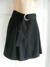 Black work flared Skirt like Shorts with silver buckle belt Size 10