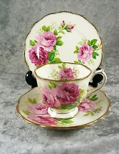 FABULOUS VINTAGE ROYAL ALBERT CUP SAUCER PLATE TRIO AMERICAN BEAUTY C 1950'S