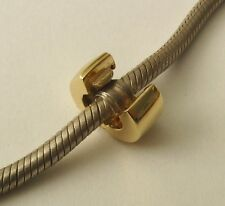 GENUINE SOLID 9K  9ct YELLOW GOLD CHARM STOPPER CLIP BEAD
