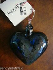 Glass Eye Studio ~ Heart Ornament ~ Purple, Green & Blue Mosaic ~ New with Tag
