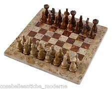 Scacchiera con Intarsi Marmo Onice Fossile 40x40cm Onyx Inlays Chessboard Chess
