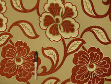 Large Lush Chenille Floral Copper Taupe Slubb Background Upholstery Fabric