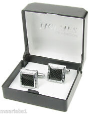 MENS SHIRT CUFFLINKS SILVER BLACK WEDDING LADIES TUXEDO XMAS GIFTBOX NEW UK ck32
