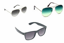 Combo OF Two Aviator and One Wayfarer Sunglasses